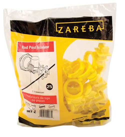 Zareba Rod Post Insulator, 25 Pack, Yellow