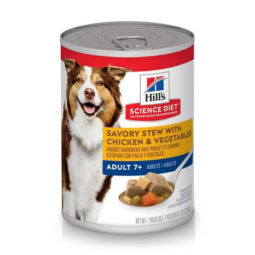 Hill's Science Diet Adult 7+ Chicken & Vegetables Savory Stew Canned Dog Food, 12.8 Oz.