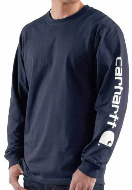 Carhartt Long Sleeve Navy Graphic Logo T-Shirt