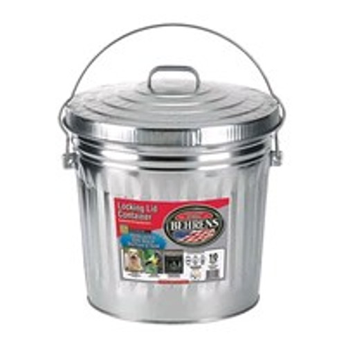Galvanized Steel Locking Can With Lid, 10 Gal.