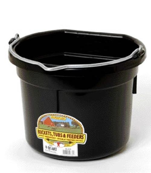 Duraflex 8 Quart, Black Flat Back Bucket