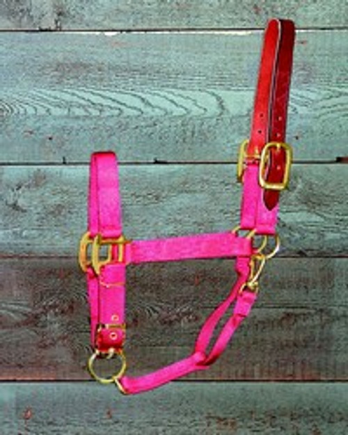Hamilton Deluxe Red Halter With Leather Crown Piece, Large