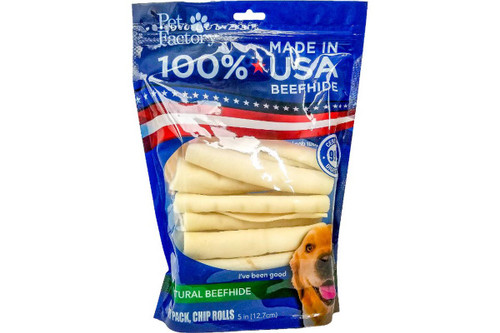 """Pet Factory USA Rawhide Chip Rolls 5"""", 18 Pack"""