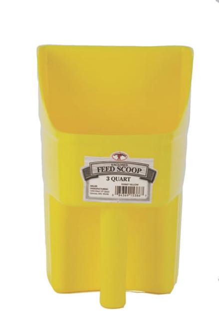 Enclosed 3 Quart Yellow Feed Scoop