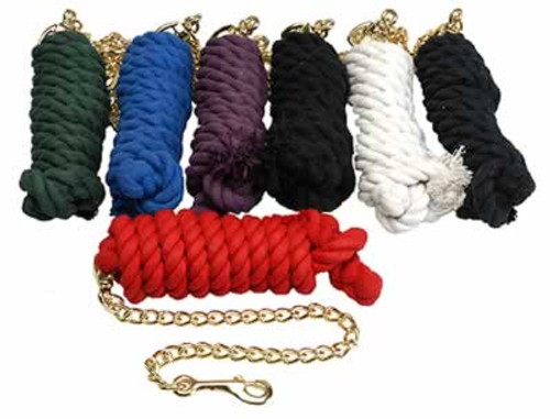 Cotton Lead Rope 10 Feet with Chain & Snap, Red