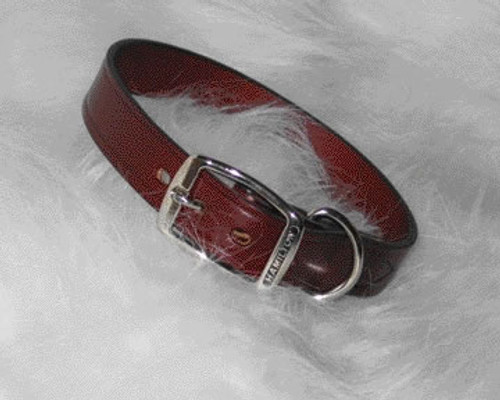 "Hamilton Burgundy Creased Leather Collar, 1"" x 22"