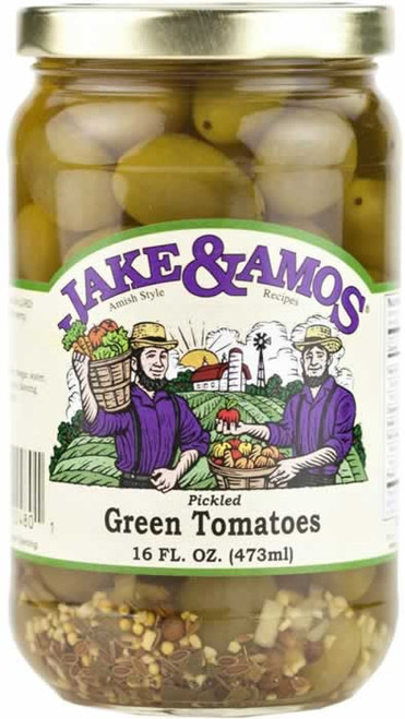 Jake and Amos Pickled Green Tomatoes 16 Ounces