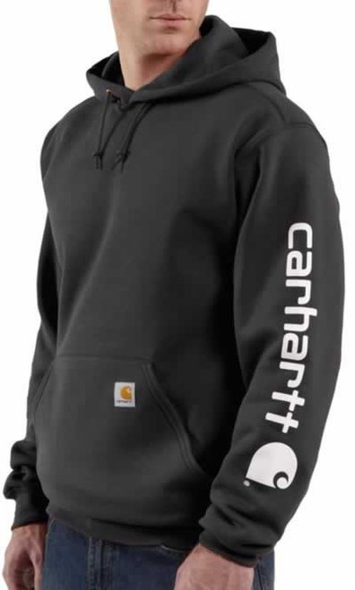 Carhartt Midweight Logo Black Hooded Sweatshirt