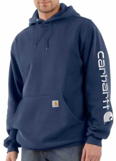 Carhartt Midweight Logo Navy Hooded Sweatshirt