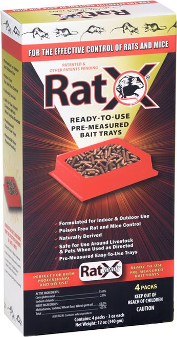 RatX Ready to Use Trays Rat and Mouse Killer 4 Pack