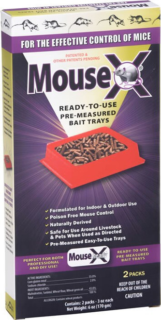 MouseX Ready to Use Trays Mouse Killer Pellets 2 Pack