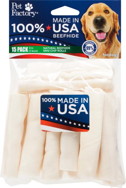 Pet Factory USA Mini Rawhide Rolls 15 Pack