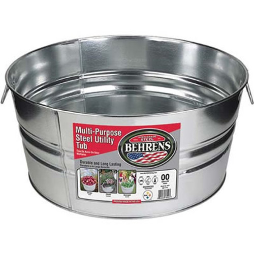 Galvanized Steel Round Tub, 17 Gallon