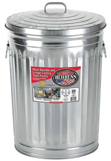 Galvanized Steel Utility Trash Can with Lid, 20 Gal.