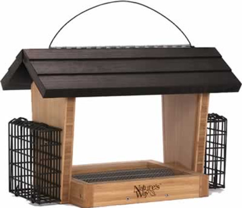Nature's Way Bamboo Hopper Feeder With Suet Cages