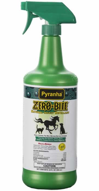 Pyranha Zero Bite Natural Insect and Fly Spray for Horses Quart