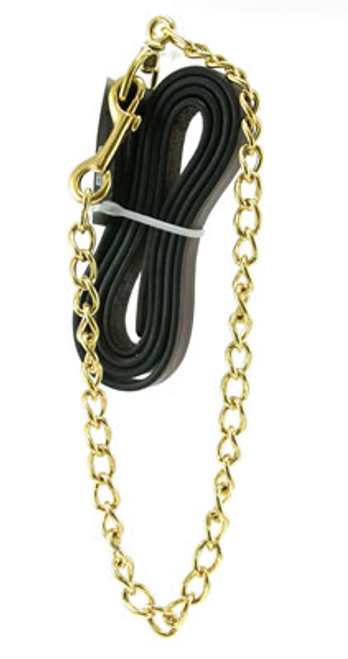 "Beiler's Leather Horse Lead with 30"" Chain"