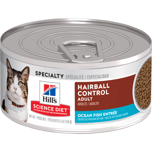 Hill's Science Diet Adult Hairball Control Ocean Fish Entree Canned Cat Food, 5.5 Oz.