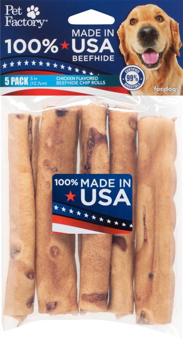 Pet Factory USA Chicken Chip Rawhide Rolls 5 Pack