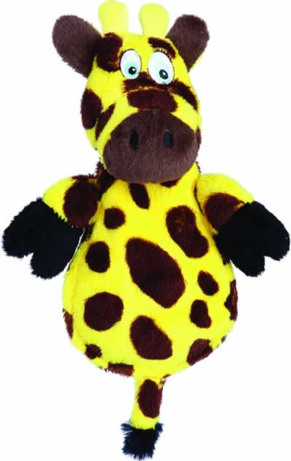 Hear Doggy's Silent Squeaker Flat Giraffe with Chew Guard Dog Toy