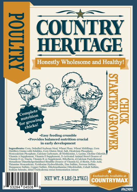 Country Heritage Chick Starter/Grower Crumbled Feed, 5# Bag