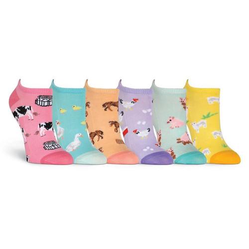K. Bell Women's 6 pack Socks, Farm Animals
