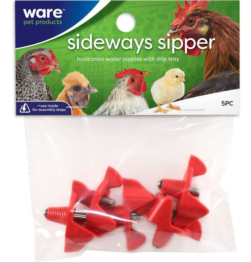 Ware Red Sideways Sipper Horizontal Water Nipples 5 Pack
