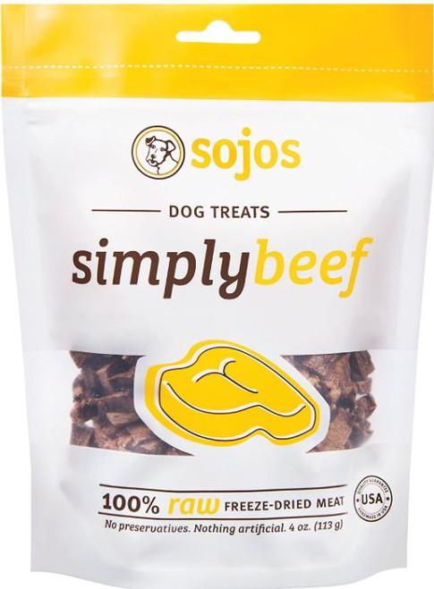 Sojos Simply Beef Feeze-Dried Dog Treats 4oz Bag