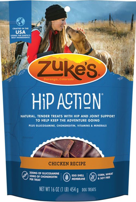 Zuke's Hip Action Chicken Recipe Dog Treats 1Lb Bag