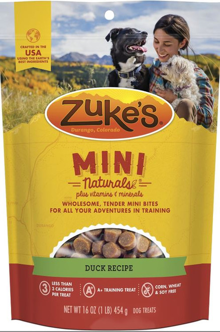 Zuke's Mini Naturals Duck Recipe Dog Treats 1lb Bag