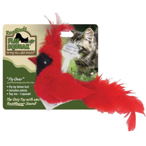 OurPets Play-N-Squeak Red Real Bird Fly Over Cat Toy