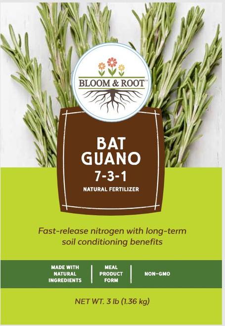 Bloom and Root Natural Bat Guano Fertilizer 7-3-1, 3 Lbs