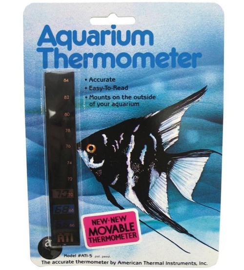 HallCrest Liquid Crystal Movable Vertical Aquarium Thermometer 5""