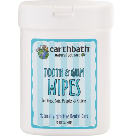 Earthbath Peppermint Tooth & Gum Wipes, 25 Count
