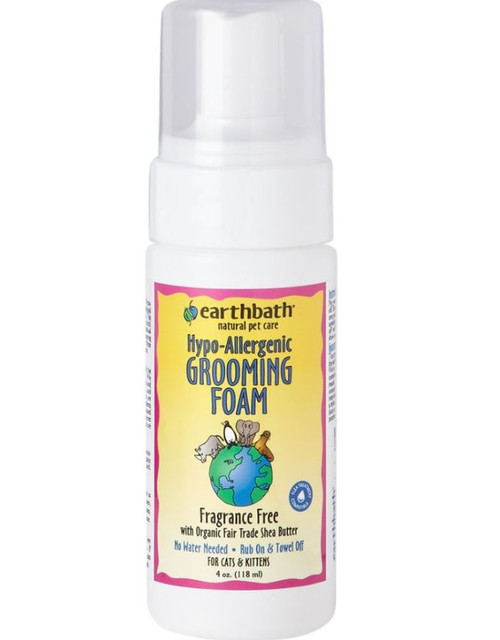 Earthbath Hypo-Allergenic Fragrance Free Waterless Grooming Foam For Cats & Kittens, 4oz
