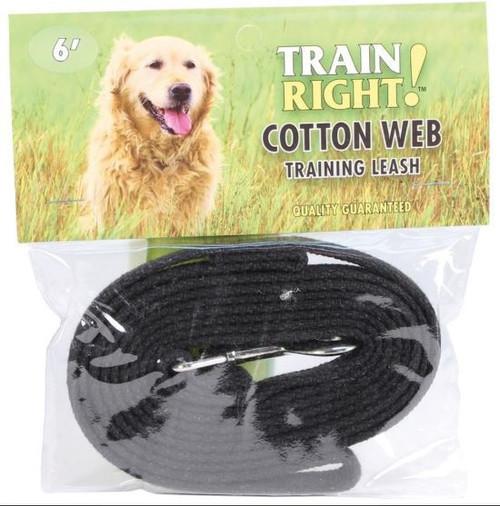 Train Right! Cotton Web Dog Training Leash, Black