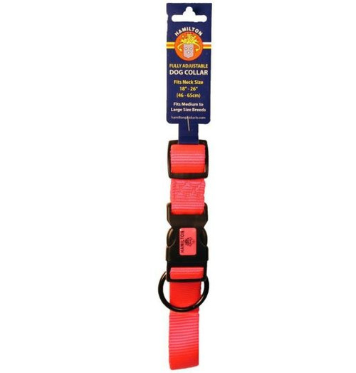Hamilton Adjustable Dog Collar, Large, Hot Pink