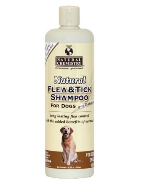 Natural Chemistry Natural Flea & Tick Shampoo With Oatmeal For Dogs, 16.9oz.