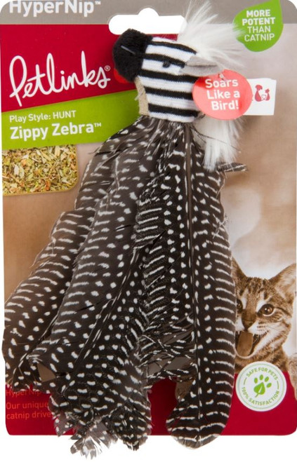 Petlinks Hypernip Zippy Zebra Feathers Cat Toy, 2 Pack