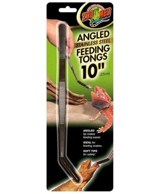 Zoo Med Angled Stainless Steel Feeding Tongs, 10""