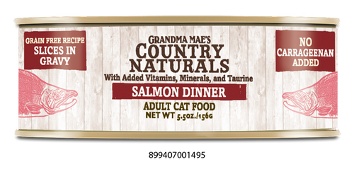 Grandma Mae's Country Naturals Salmon Dinner In Gravy Canned Cat Food, 5.5 oz.