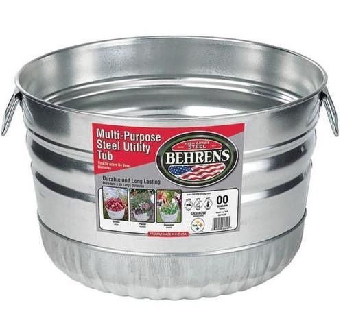 Behrens Galvanized Steel utility Basket Tub, 1 Bushel, Steel
