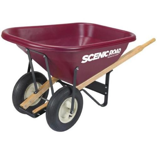 Scenic Road Dual Wheel Wheelbarrow W/Ribbed Tires, 8 Cu. Ft., Maroon