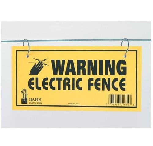 Dare Electric Fence Warning Sign, 3 Pack, Yellow