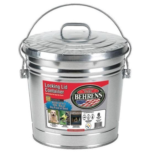 Behrens Galvanized Steel Locking Lid Container, 6 Gallon