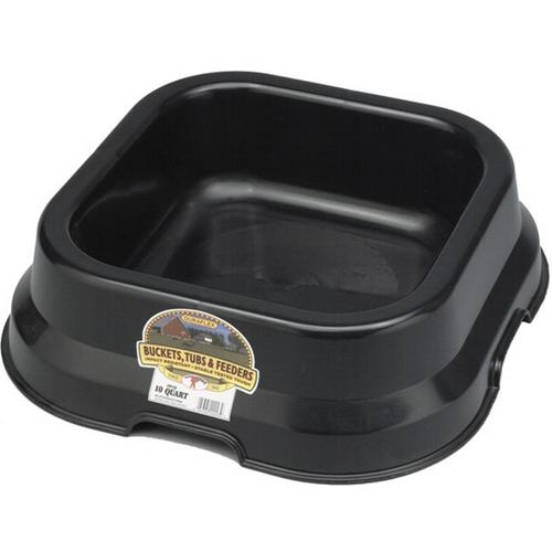 Little Giant Duraflex Square Feed Pan, 10 Qt., Black
