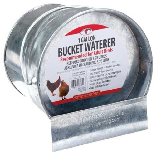Little Giant Galvanized Bucket Poultry Waterer, 1 Gal.