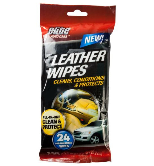 Elite Auto Care Leather Wipes, 24 Pack