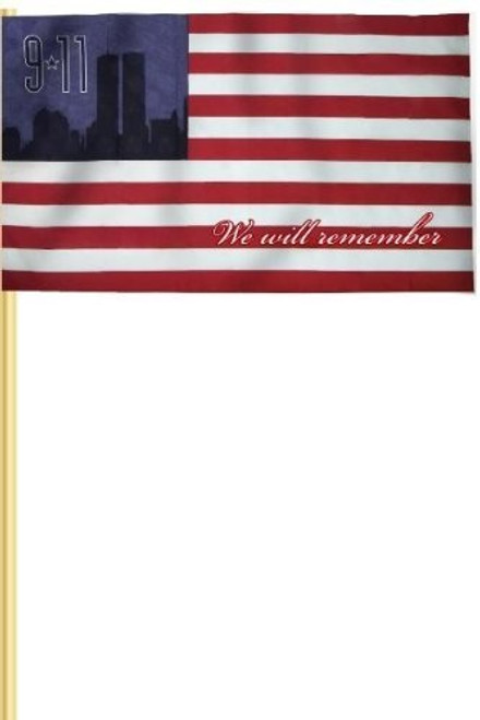 "Heath 9/11 Commemorative American Stick Flag, 12""x18"""