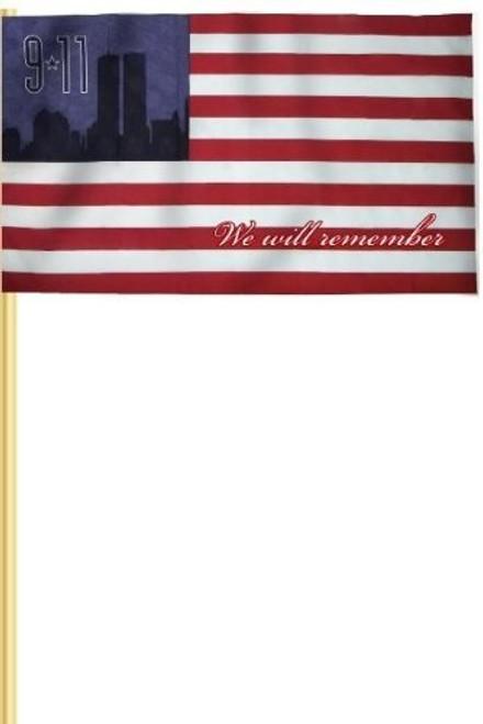 "Heath 9/11 Commemorative American Stick Flag, 12""x18"""